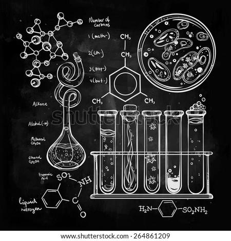 hand drawn science laboratory