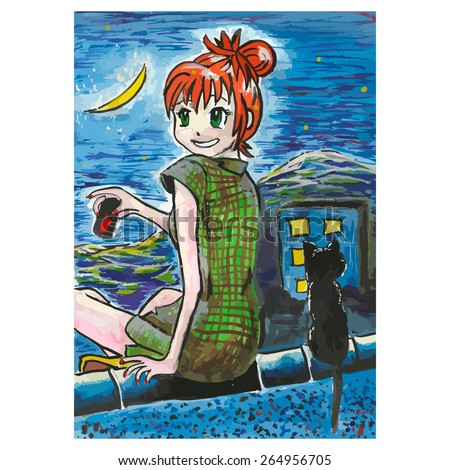 art print anime girl sitting