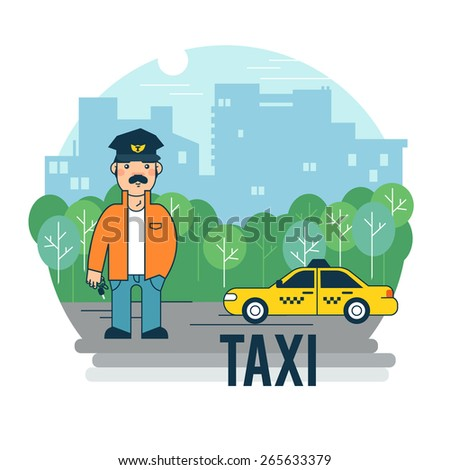 the taxi driver waits for the
