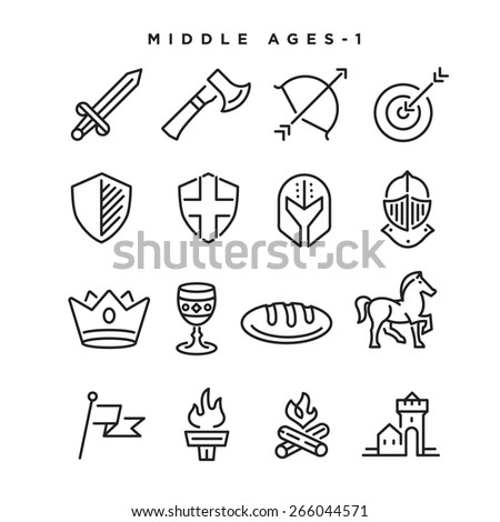 middle age vector icons