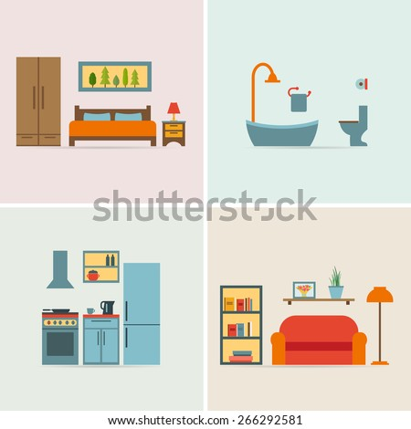 furniture icon set for rooms of