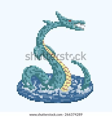 pixel art style sea dragon