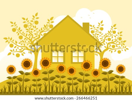 vector bed of sunflowers