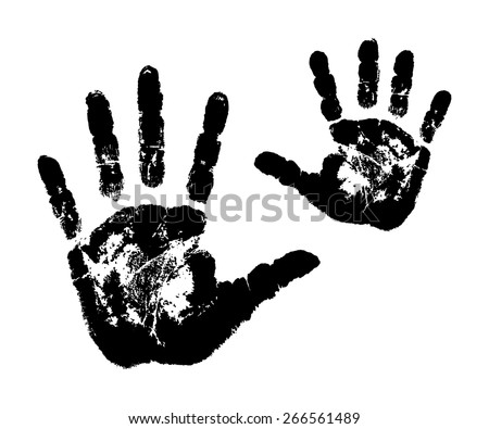 woman's and child's handprints