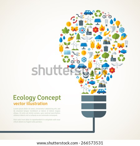 light bulb with ecology icons