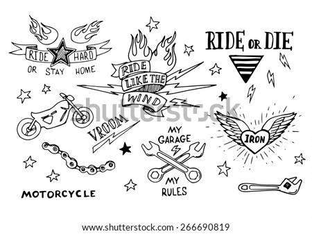 traditional tattoo biker set of