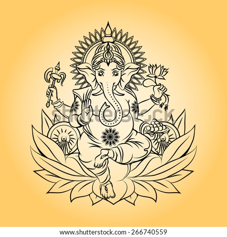 lord ganesha indian god with