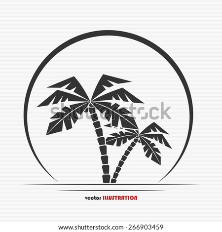 abstract palm trees and sun for