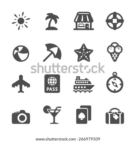 travel and vacation icon set 7