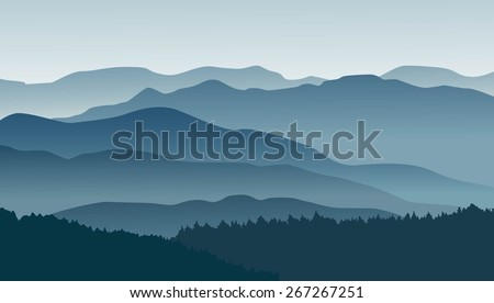 blue mountains in the fog