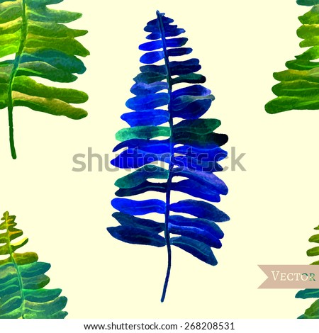 watercolor vector seamless fern