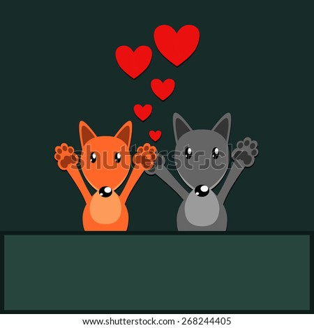 funny fox and wolf love  flat