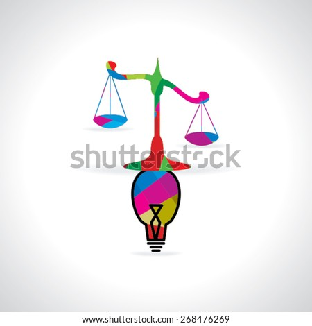 scale for justice with bulb