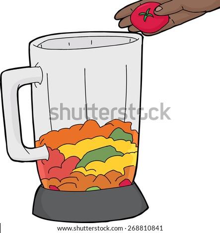 blender jar being filled with