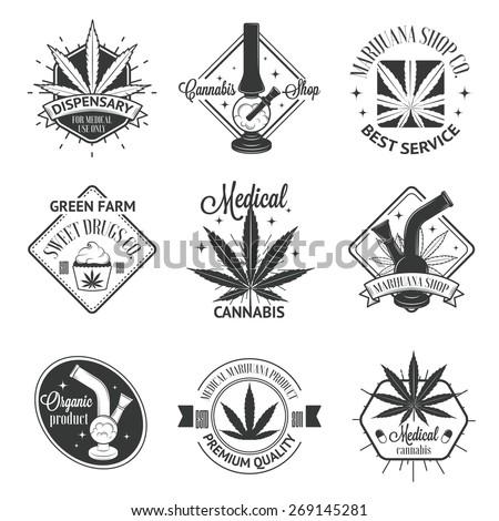 set of medical marijuana logos