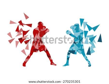 man boxing fight facing each