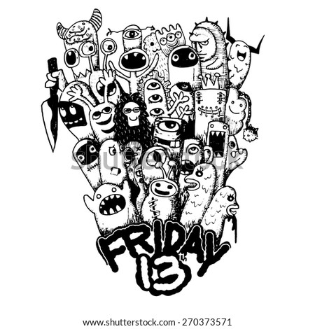 hipster hand drawn friday 13