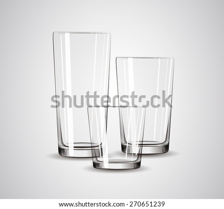 transparent glass set isolated