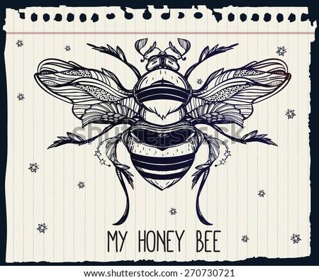 beautiful hand drawn honey bee