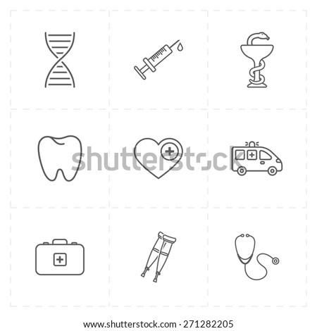9 flat medicine icons