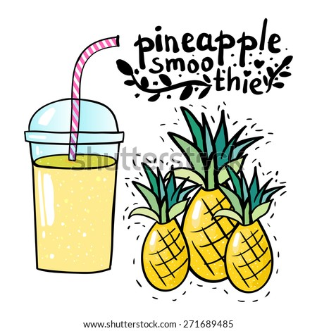 pineapple smoothie vector