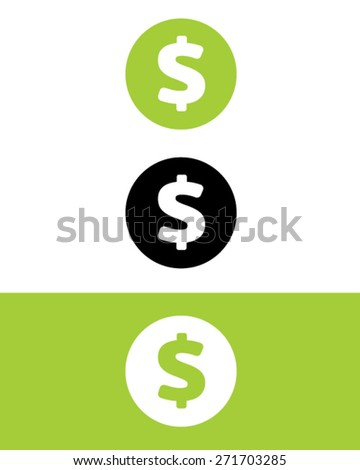 vector dollar sign icon set in