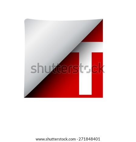 vector sign label letter t