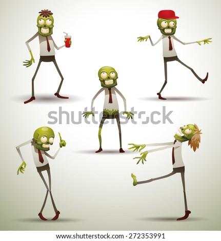 set of office zombies  vector