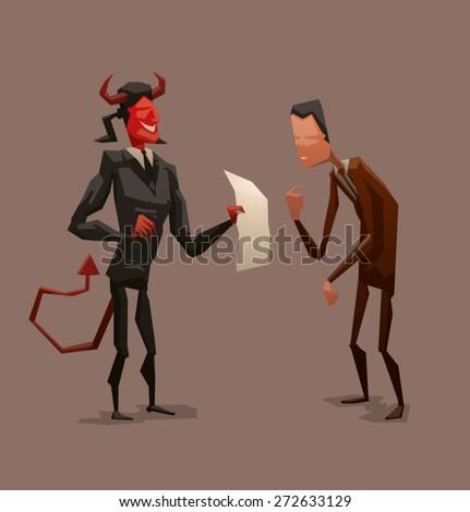 devil and businessman  vector