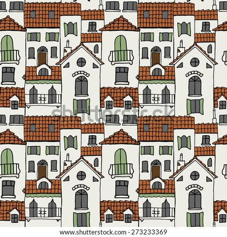 seamless pattern of old houses