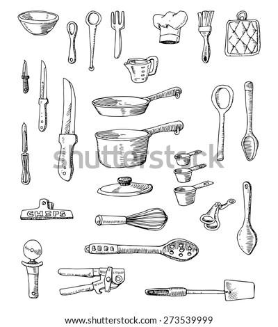 hand drawn cookware set