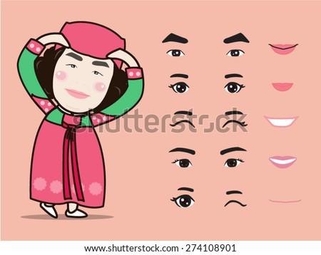 cartoon cute korea traditional
