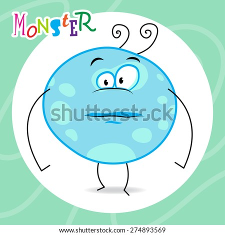 cartoon blue monster with cute