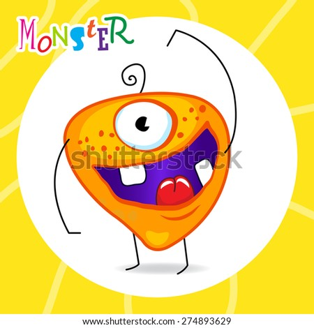 cartoon orange monster with