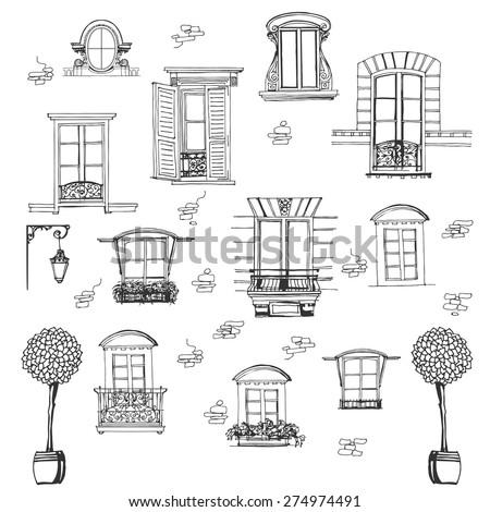 set of retro windows isolated