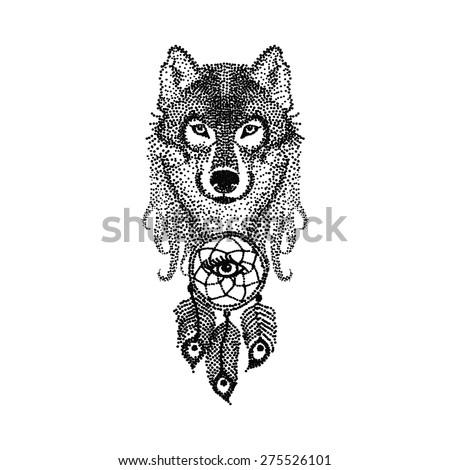 dot work tattoo design stylized