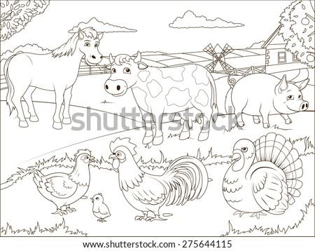 coloring book farm cartoon