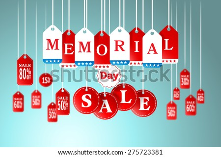 memorial day and sale tag