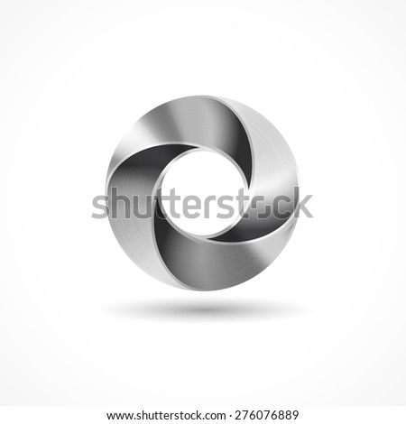metal icon circle 3d in vector