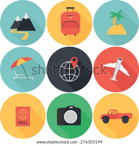 active vacation icons set flat