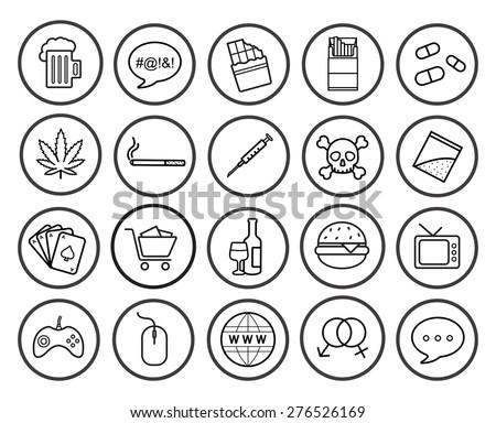 bad habits linear icons set