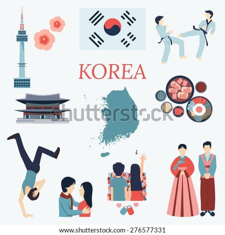 all about korea flat design