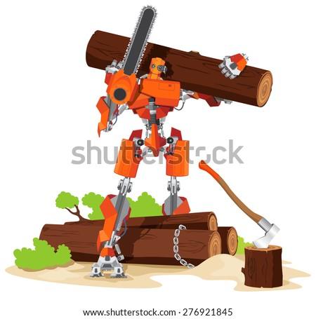 robot woodcutter cartoon