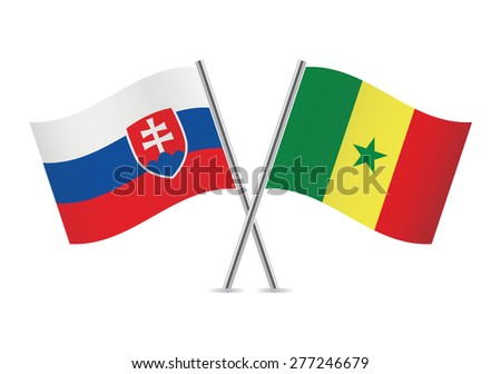 slovakia and senegalese flags