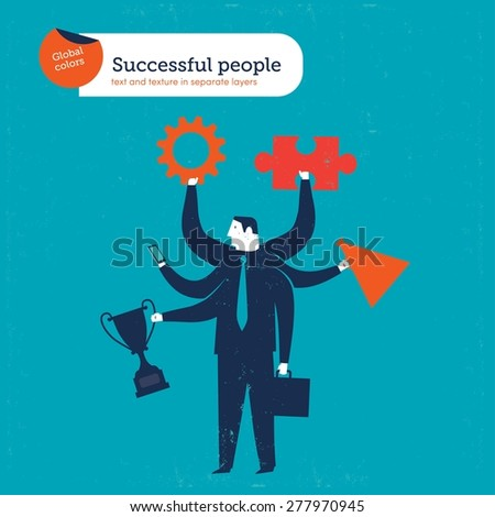 multi tasking businessman with