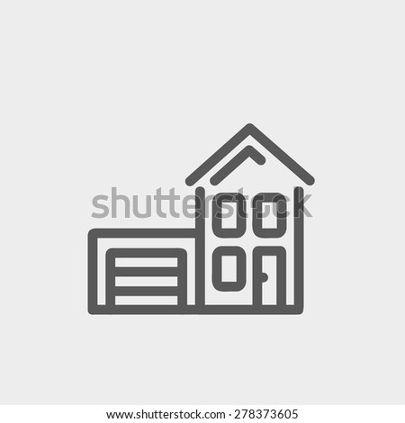 house with garage icon thin
