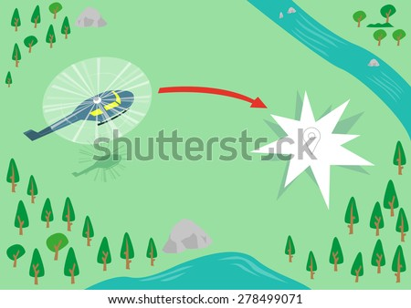 a helicopter flying over a