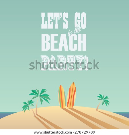 beach party poster with vintage