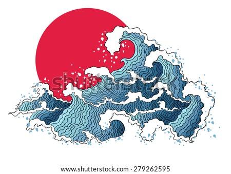 asian illustration of ocean