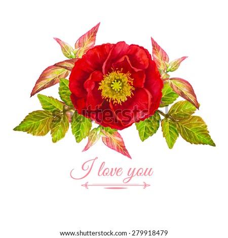 i love you vector watercolor